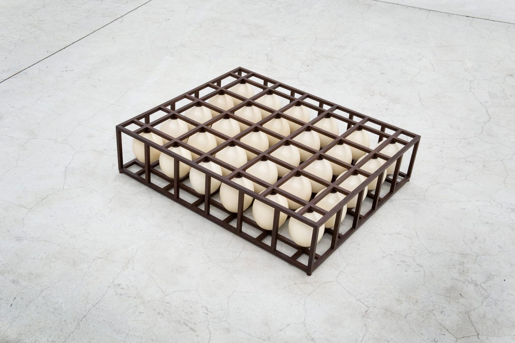 Alastair Mackie|So Linear|2011|egg|lattice|sculpture